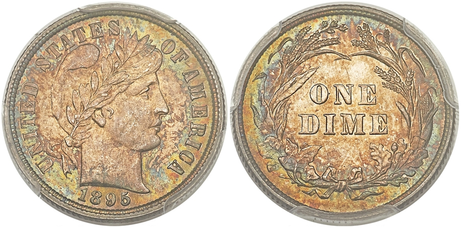 1895 Barber Dime MS66+ PCGS