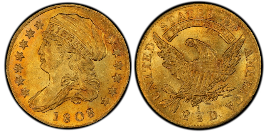 1808 Capped Bust Quarter Eagle Gold PCGS MS65